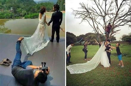 每张浪漫婚纱照背后都有一个拼命的摄影师